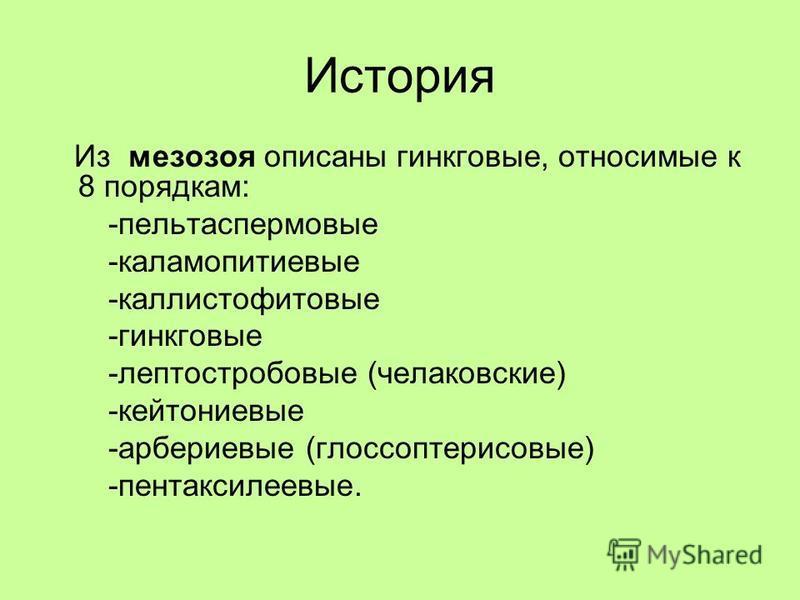 История Из мезозоя описаны гинкговые, относимые к 8 порядкам: -пельтаспермовые -каламопитиевые -каллистофитовые -гинкговые -лептостробовые (челаковские) -кейтониевые -арбериевые (глоссоптерисовые) -пентаксилеевые.