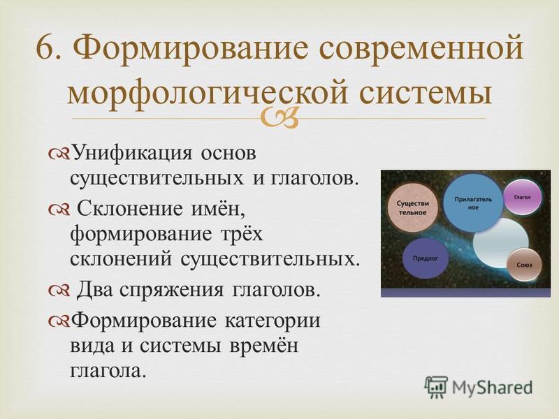 6. Формирование современной морфологической системы Унификация основ существительных и глаголов. Склонение имён, формирование трёх склонений существительных. Два спряжения глаголов. Формирование категории вида и системы времён глагола.