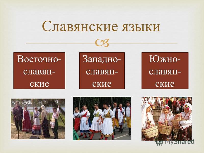 Южно- славян- ские Западно- славян- ские Восточно- славян- ские Славянские языки