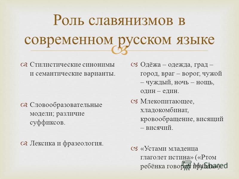 Роль славянизмов в современном русском языке Стилистические синонимы и семантические варианты. Словообразовательные модели ; различие суффиксов. Лексика и фразеология. Одёжа – одежда, град – город, враг – ворог, чужой – чуждый, ночь – нощь, один – ед