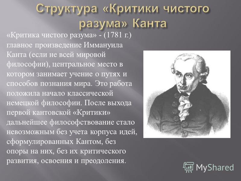 « Критика чистого разума » - (1781 г.) главное произведение Иммануила Канта ( если не всей мировой философии ), центральное место в котором занимает учение о путях и способов познания мира. Это работа положила начало классической немецкой философии.