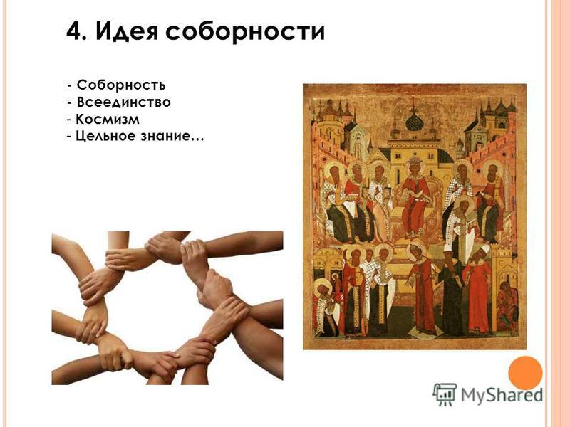 4. Идея соборности - Соборность - Всеединство - Космизм - Цельное знание…