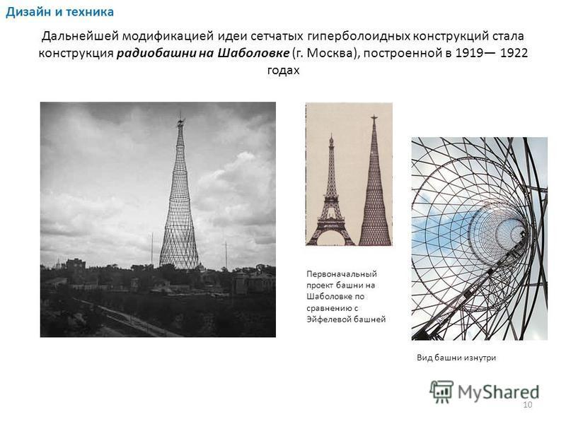Дальнейшей модификацией идеи сетчатых гиперболоидных конструкций стала конструкция радиобашни на Шаболовке (г. Москва), построенной в 1919 1922 годах Первоначальный проект башни на Шаболовке по сравнению с Эйфелевой башней Вид башни изнутри Дизайн и
