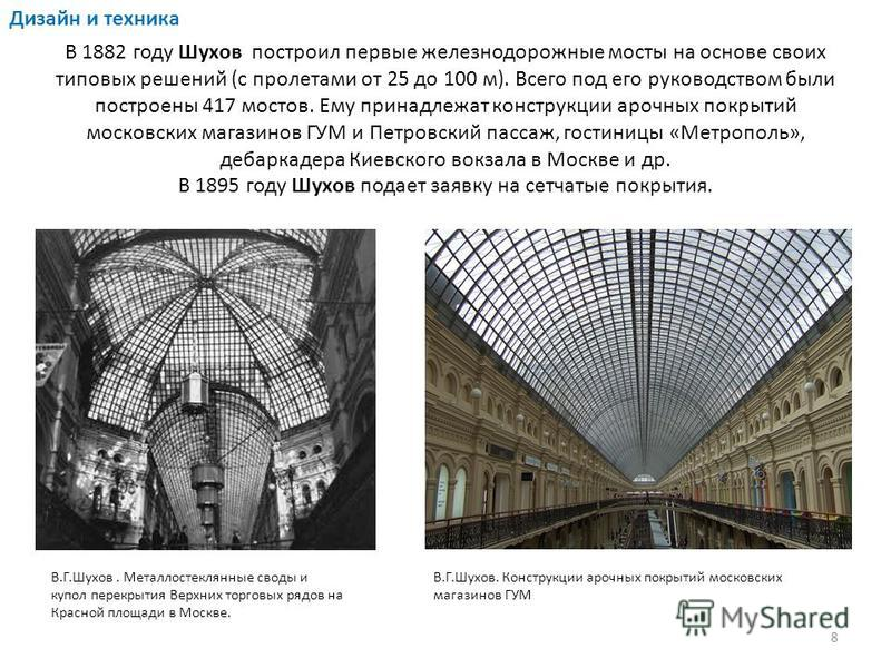 В 1882 году Шухов построил первые железнодорожные мосты на основе своих типовых решений (с пролетами от 25 до 100 м). Всего под его руководством были построены 417 мостов. Ему принадлежат конструкции арочных покрытий московских магазинов ГУМ и Петров