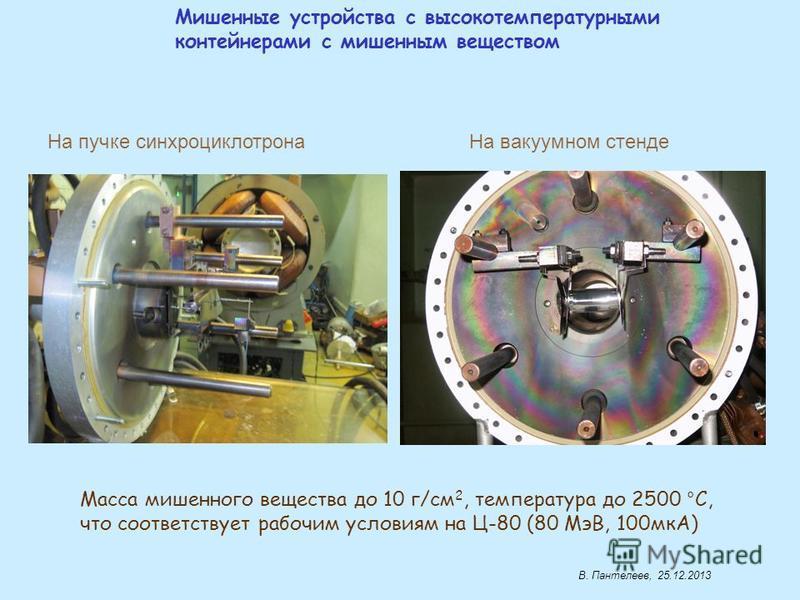 Мишенные устройства с высокотемпературными контейнерами с мишениным веществом На пучке синхроциклотрона На вакуумном стенде Масса мишениного вещества до 10 г/см 2, температура до 2500 °С, что соответствует рабочим условиям на Ц-80 (80 МэВ, 100 мкА)