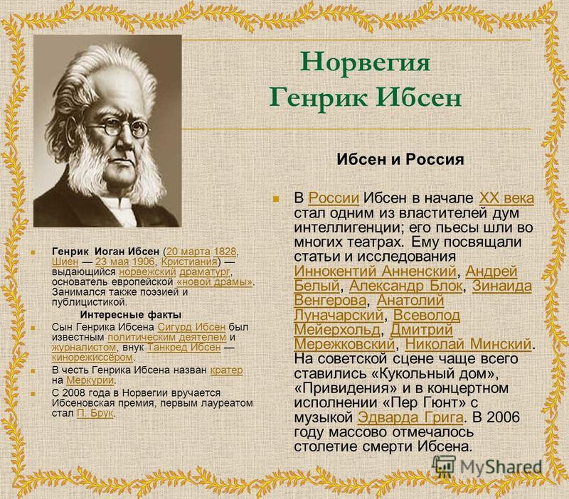 Норвегия Генрик Ибсен Генрик Иоган Ибсен (20 марта 1828, Шиен 23 мая 1906, Кристиания) выдающийся норвежский драматург, основатель европейской «новой драмы». Занимался также поэзией и публицистикой.20 марта 1828 Шиен 23 мая 1906Кристианиянорвежскийдр