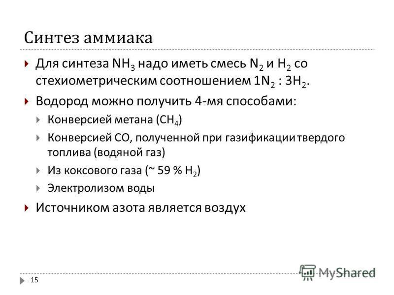Синтез аммиака Для синтеза NH 3 надо иметь смесь N 2 и H 2 со стехиометрическим соотношением 1N 2 : 3H 2. Водород можно получить 4- мя способами : Конверсией метана ( СН 4 ) Конверсией СО, полученной при газификации твердого топлива ( водяной газ ) И