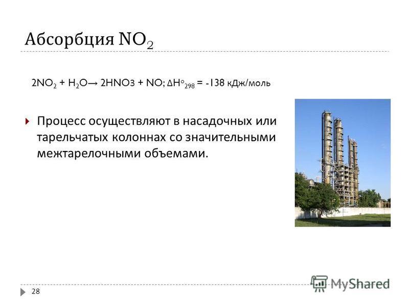 Абсорбция NO 2 2NO 2 + H 2 O 2HNO3 + NO; Δ H o 298 = -138 к Дж / моль Процесс осуществляют в насадочных или тарельчатых колоннах со значительными межтарелочными объемами. 28
