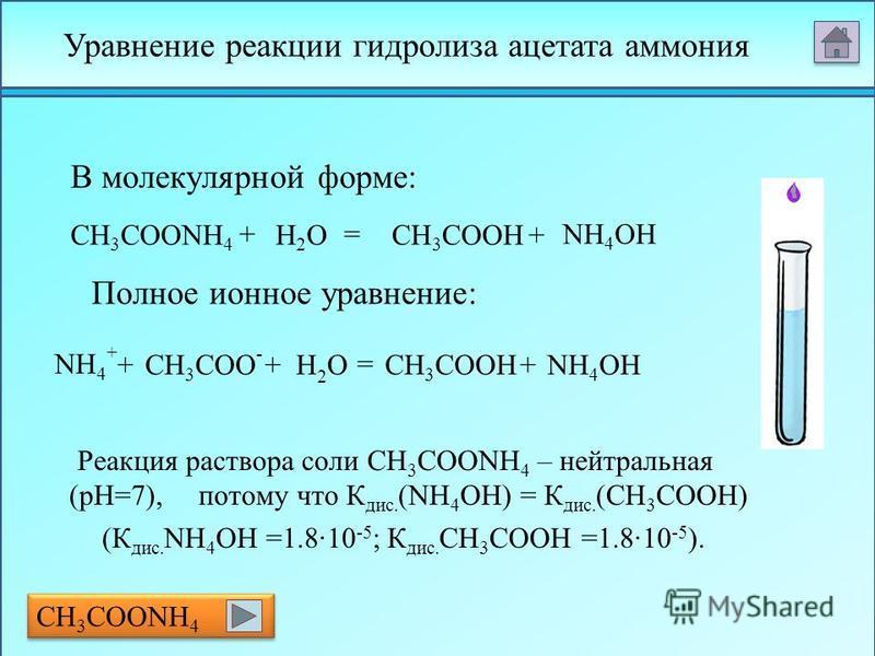 CH 3 COONH 4 CH 3 COO – + NH 4 + H2OH2OO H – H+H+ + Гидролиз солей, образованных слабым основанием и слабой кислотой. В этом случае образуются два малодизсоциированных соединения, и pH раствора зависит от относительной силы кислоты и основания.