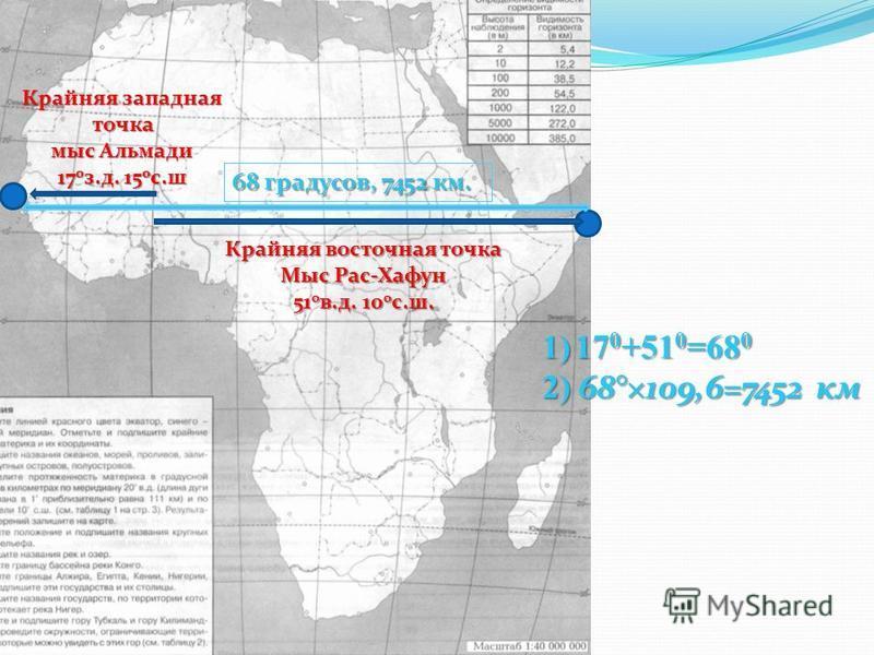 Крайняя западная точка мыс Альмади 17 0 з.д. 15 0 с.ш Крайняя восточная точка Мыс Рас-Хафун 51 0 в.д. 10 0 с.ш. 1)17 0 +51 0 =68 0 2) 68°×109,6=7452 км 68 градусов, 7452 км.