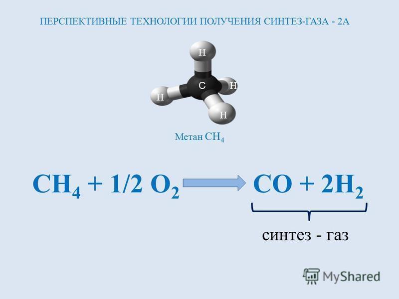 C H H H H Метан CH 4 CH 4 + 1/2 O 2 CO + 2H 2 синтез - газ ПЕРСПЕКТИВНЫЕ ТЕХНОЛОГИИ ПОЛУЧЕНИЯ СИНТЕЗ-ГАЗА - 2А