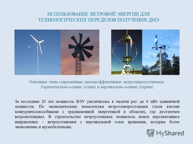 Основные типы современных высокоэффективных ветроэнергоустановок: Горизонтально-осевые (слева) и вертикально-осевые (справа) ИСПОЛЬЗОВАНИЕ ВЕТРОВОЙ ЭНЕРГИИ ДЛЯ ТЕХНОЛОГИЧЕСКИХ ПЕРЕДЕЛОВ ПОЛУЧЕНИЯ ДМЭ За последнее 20 лет мощность ВЭУ увеличилась в тыс