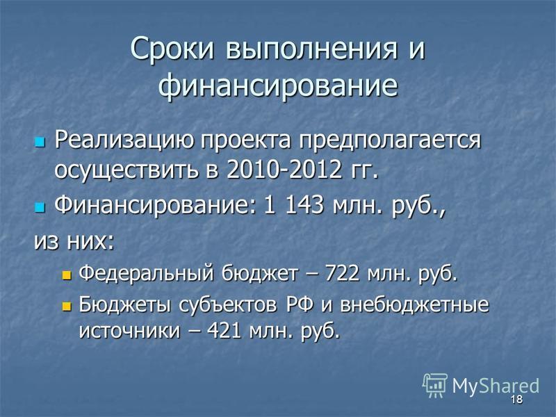 18 Сроки выполнения и финансирование Реализацию проекта предполагается осуществить в 2010-2012 гг. Реализацию проекта предполагается осуществить в 2010-2012 гг. Финансирование: 1 143 млн. руб., Финансирование: 1 143 млн. руб., из них: Федеральный бюд