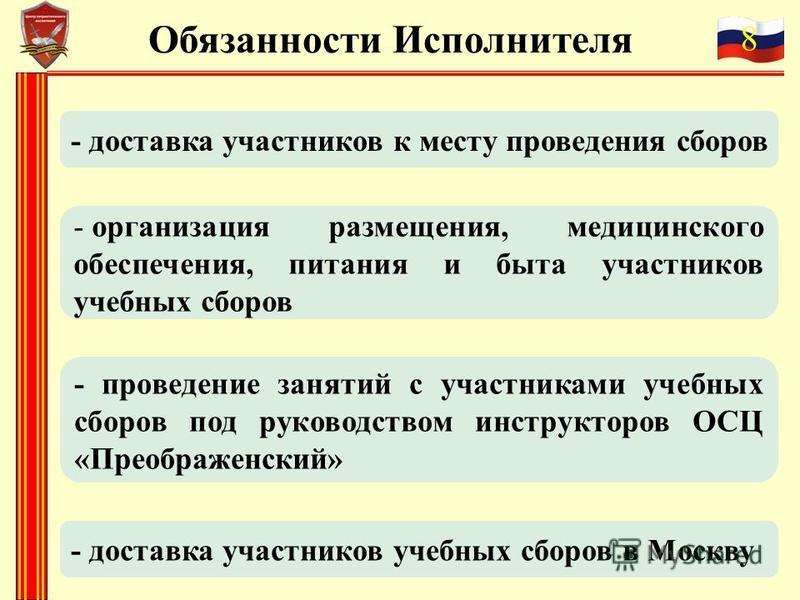 8 Обязанности Исполнителя - доставка участников к месту проведения сборов - организация размещения, медицинского обеспечения, питания и быта участников учебных сборов - доставка участников учебных сборов в Москву - проведение занятий с участниками уч