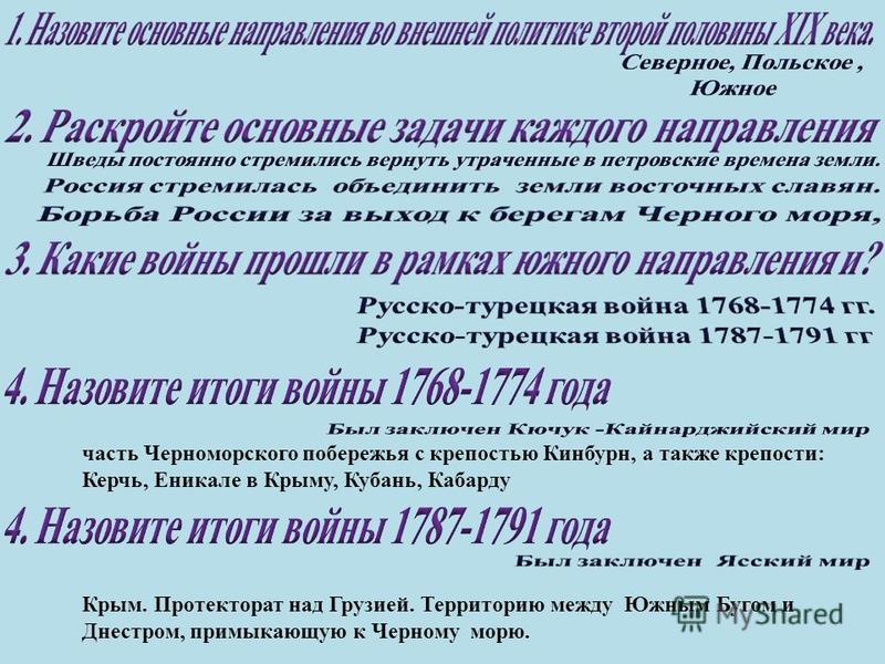 часть Черноморского побережья с крепостью Кинбурн, а также крепости: Керчь, Еникале в Крыму, Кубань, Кабарду Крым. Протекторат над Грузией. Территорию между Южным Бугом и Днестром, примыкающую к Черному морю.