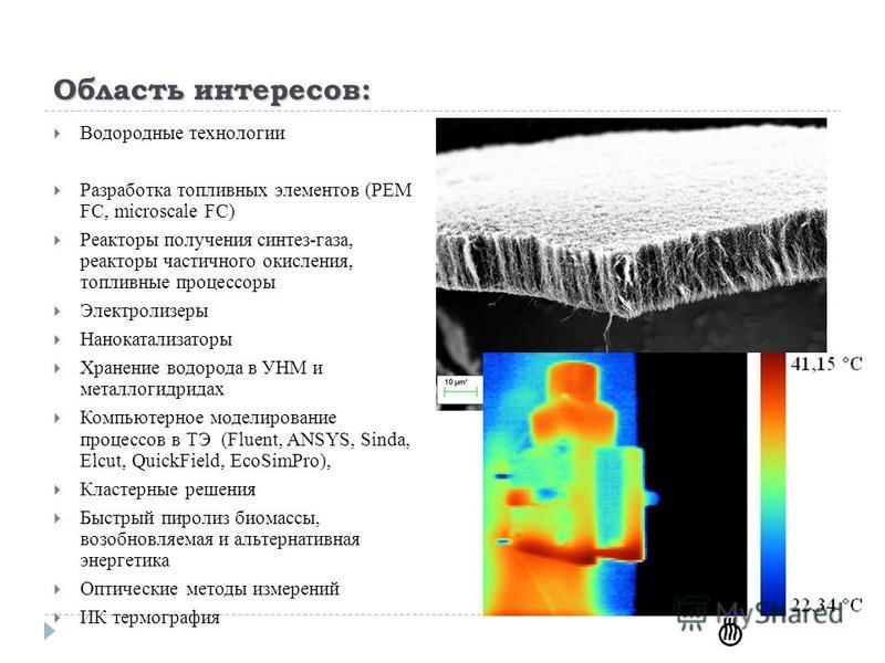 Область интересов: Водородные технологии Разработка топливных элементов (PEM FC, microscale FC) Реакторы получения синтез-газа, реакторы частичного окисления, топливные процессоры Электролизеры Нанокатализаторы Хранение водорода в УНМ и металлогидрид