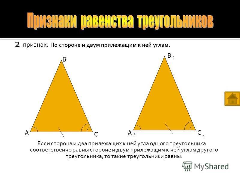 1 признак. По двум сторонам и углу между ними. Если две стороны и угол между ними одного треугольника соответственно равны двум сторонам и углу между ними другого треугольника, то эти треугольники равны. А В СА В С 1 1 1