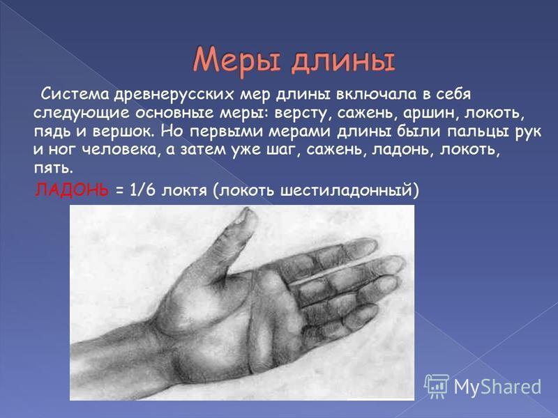 Система древнерусских мер длины включала в себя следующие основные меры: версту, сажень, аршин, локоть, пядь и вершок. Но первыми мерами длины были пальцы рук и ног человека, а затем уже шаг, сажень, ладонь, локоть, пять. ЛАДОНЬ = 1/6 локтя (локоть ш