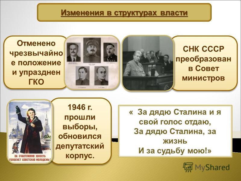 Изменения в структурах власти Отменено чрезвычайно е положение и упразднен ГКО СНК СССР преобразован в Совет министров 1946 г. прошли выборы, обновился депутатский корпус. « За дядю Сталина и я свой голос отдаю, За дядю Сталина, за жизнь И за судьбу