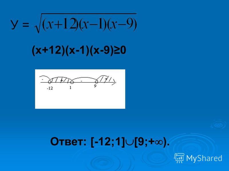 У =У = (х+12)(х-1)(х-9)0 Ответ: [-12;1] [9;+ ).