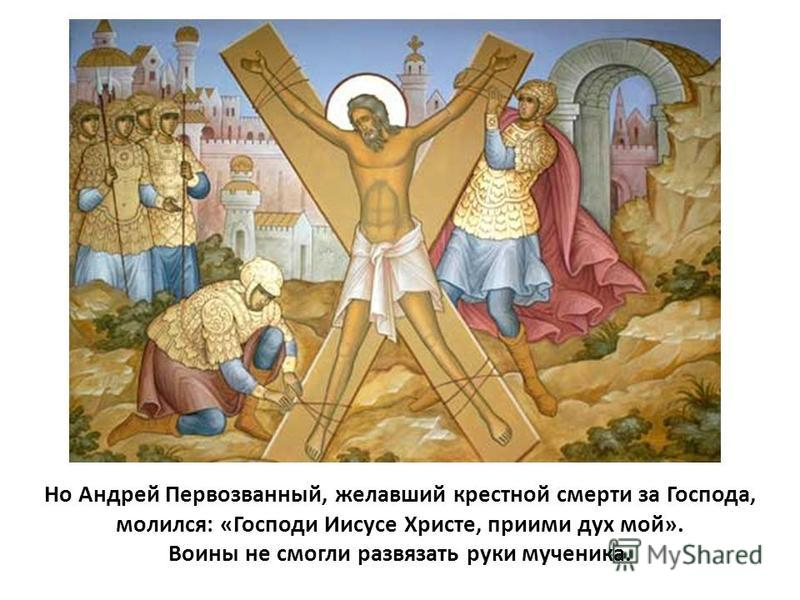 Но Андрей Первозванный, желавший крестной смерти за Господа, молился: «Господи Иисусе Христе, приими дух мой». Воины не смогли развязать руки мученика.