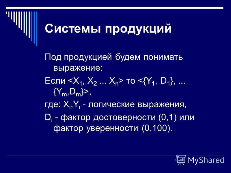 Системы продукций Под продукцией будем понимать выражение: Если то, где: X i,Y i - логические выражения, D i - фактор достоверности (0,1) или фактор уверенности (0,100).
