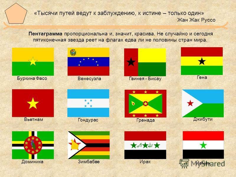 «Тысячи путей ведут к заблуждению, к истине – только один» Жан Жак Руссо Пентаграмма пропорциональна и, значит, красива. Не случайно и сегодня пятиконечная звезда реет на флагах едва ли не половины стран мира. Буркина Фасо Венесуэла Гвинея - Бисау Ге