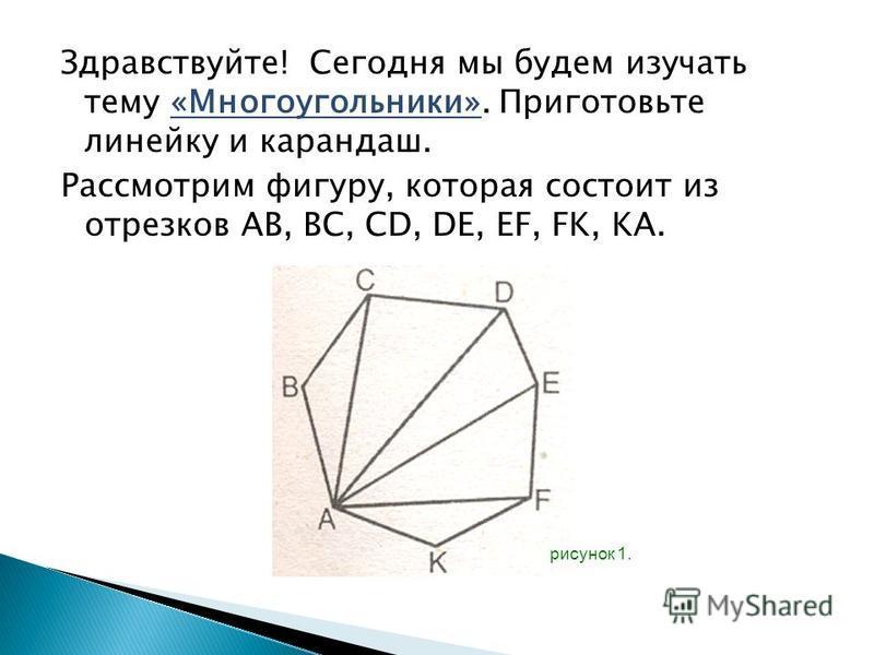Здравствуйте! Сегодня мы будем изучать тему «Многоугольники». Приготовьте линейку и карандаш. Рассмотрим фигуру, которая состоит из отрезков AB, BC, CD, DE, EF, FK, KA. рисунок 1.