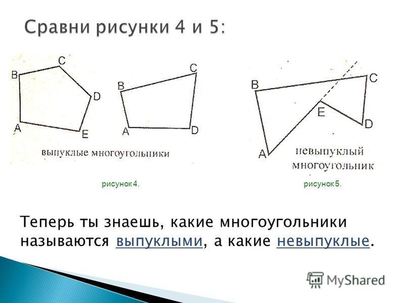 рисунок 4. рисунок 5. Теперь ты знаешь, какие многоугольники называются выпуклыми, а какие невыпуклые.