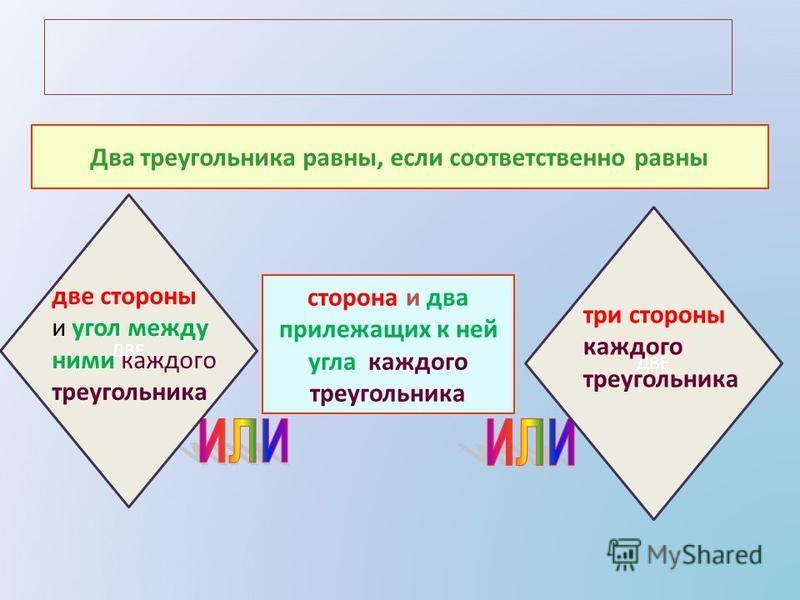 Два треугольника равны, если соответственно равны сторона и два прилежащих к ней угла каждого треугольника ДВЕ две стороны и угол между ними каждого треугольника ДВЕ три стороны каждого треугольника