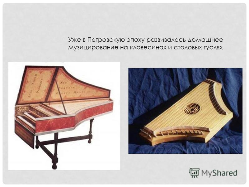 Уже в Петровскую эпоху развивалось домашнее музицирование на клавесинах и столовых гуслях