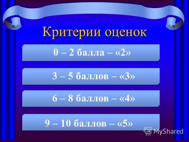Критерии оценок 0 – 2 балла – «2» 3 – 5 баллов – «3» 6 – 8 баллов – «4» 9 – 10 баллов – «5»