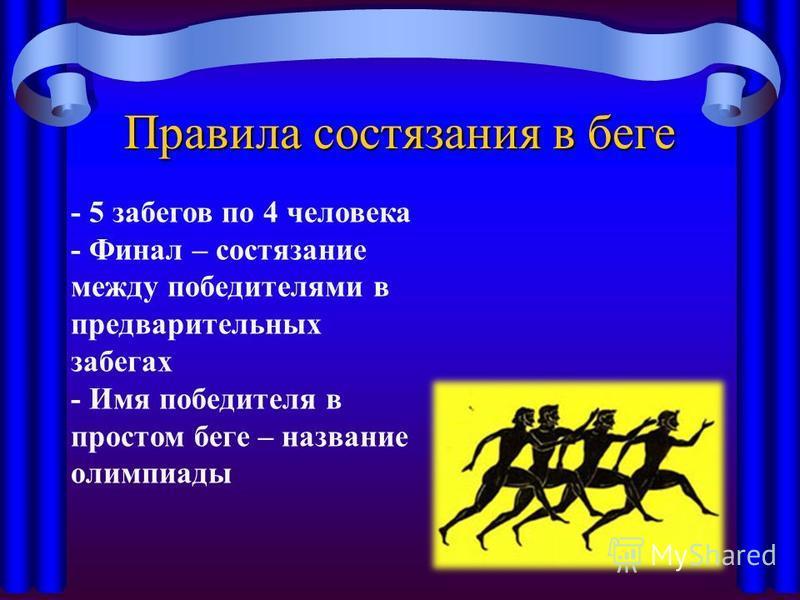 Правила состязания в беге - 5 забегов по 4 человека - Финал – состязание между победителями в предварительных забегах - Имя победителя в простом беге – название олимпиады
