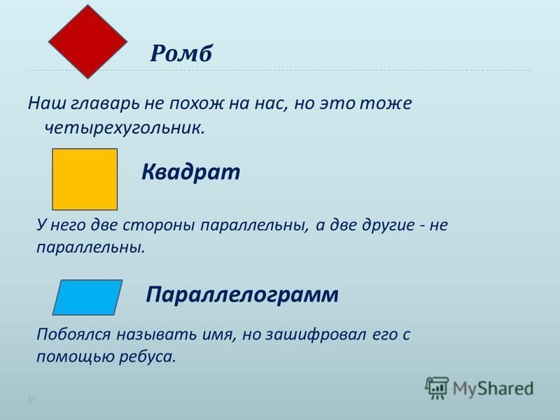 Ромб Наш главарь не похож на нас, но это тоже четырехугольник. Квадрат У него две стороны параллельны, а две другие - не параллельны. Параллелограмм Побоялся называть имя, но зашифровал его с помощью ребуса.