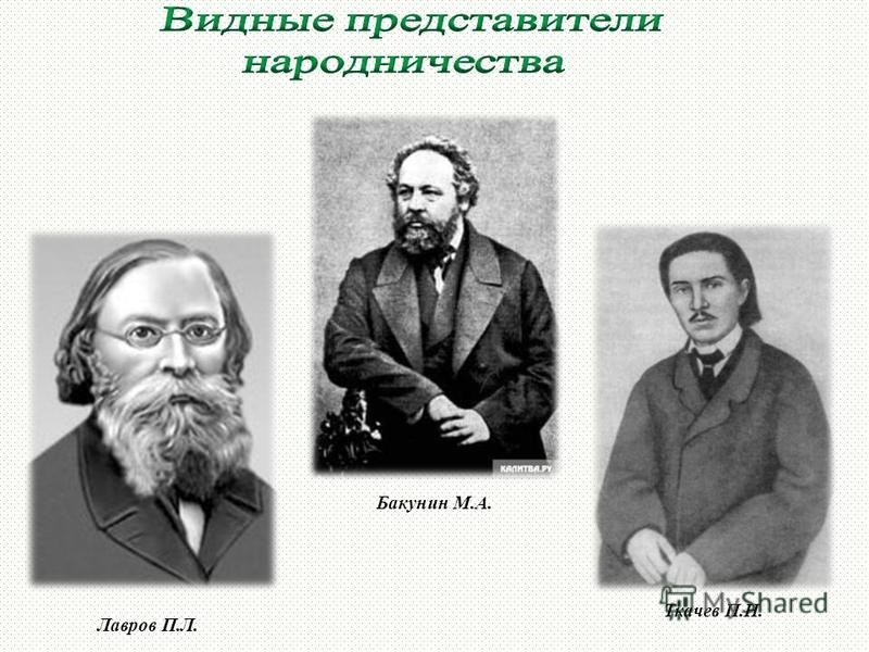 Лавров П.Л. Бакунин М.А. Ткачев П.Н.