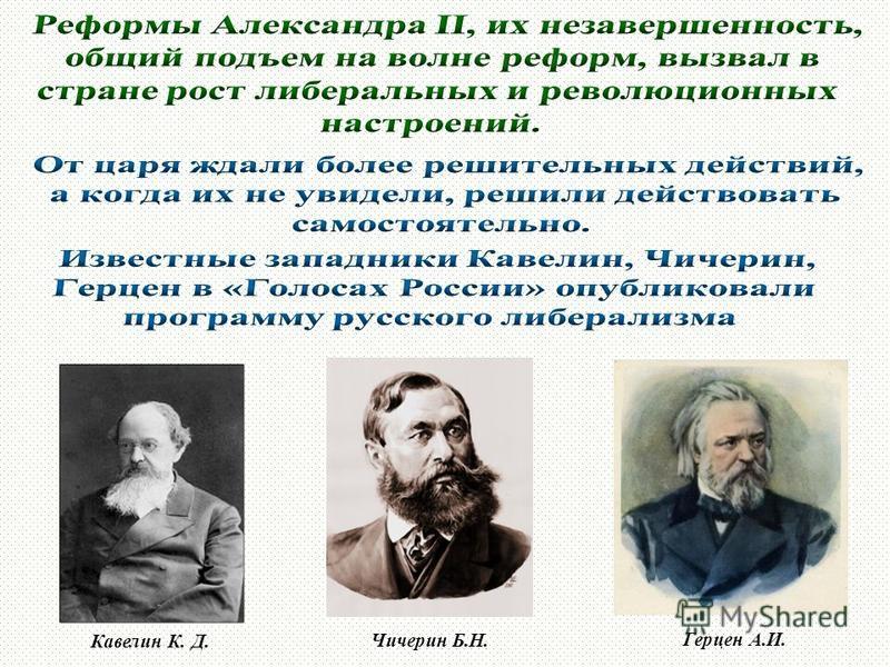 Герцен А.И. Чичерин Б.Н. Кавелин К. Д.