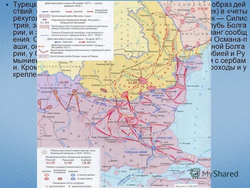 Турецкий план предусматривал активно-оборонительный образ действий: сосредоточив главные силы (около 100 тыс. человек) в «четырёхугольнике» крепостей Рущук Шумла Базарджик Силис трия, завлекать переправившихся русских к Балканам, вглубь Болга рии, и