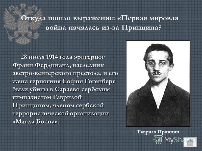 Откуда пошло выражение: «Первая мировая война началась из-за Принципа? 28 июля 1914 года эрцгерцог Франц Фердинанд, наследник австро-венгерского престола, и его жена герцогиня София Гогенберг были убиты в Сараево сербским гимназистом Гаврилой Принцип