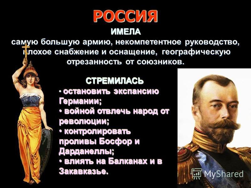 СТРЕМИЛАСЬ остановить экспансию Германии; остановить экспансию Германии; войной отвлечь народ от революции; войной отвлечь народ от революции; контролировать проливы Босфор и Дарданеллы; контролировать проливы Босфор и Дарданеллы; влиять на Балканах