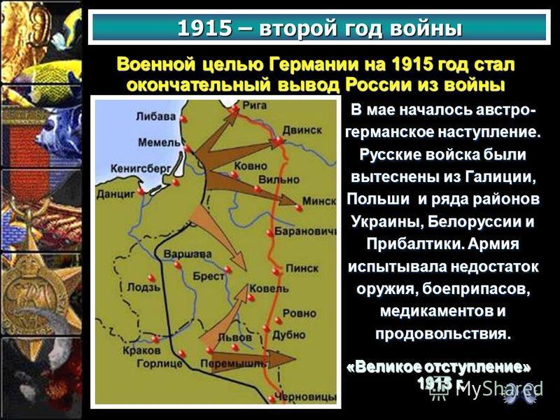 1915 – второй год войны Военной целью Германии на 1915 год стал окончательный вывод России из войны «Великое отступление» 1915 г. 1915 г. В мае началось австро- германское наступление. Русские войска были вытеснены из Галиции, Польши и ряда районов У