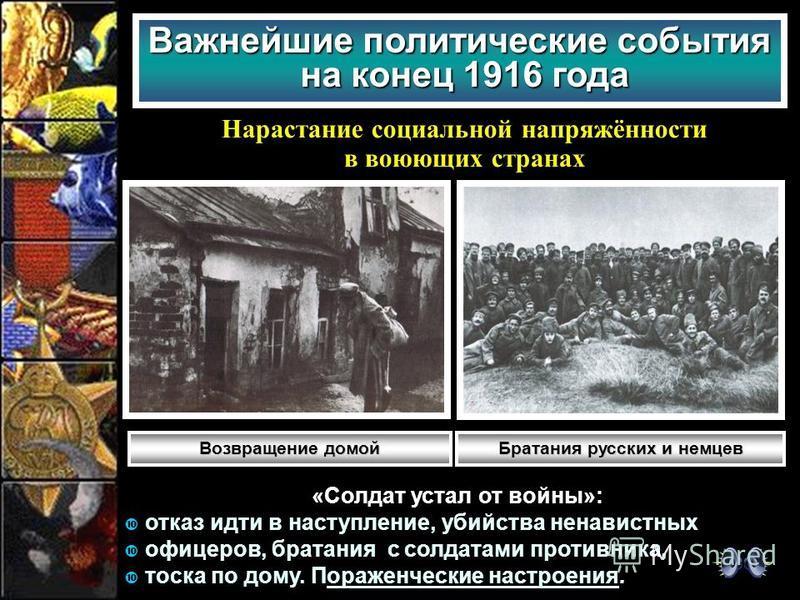 Важнейшие политические события на конец 1916 года Нарастание социальной напряжённости в воюющих странах «Солдат устал от войны»: отказ идти в наступление, убийства ненавистных офицеров, братания с солдатами противника, тоска по дому. Пораженческие на