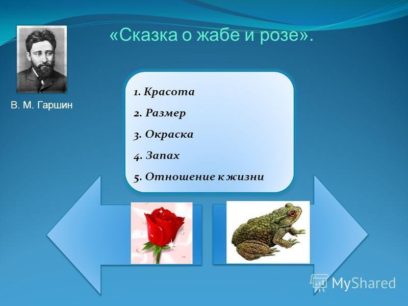 1. Красота 2. Размер 3. Окраска 4. Запах 5. Отношение к жизни В. М. Гаршин «Сказка о жабе и розе».