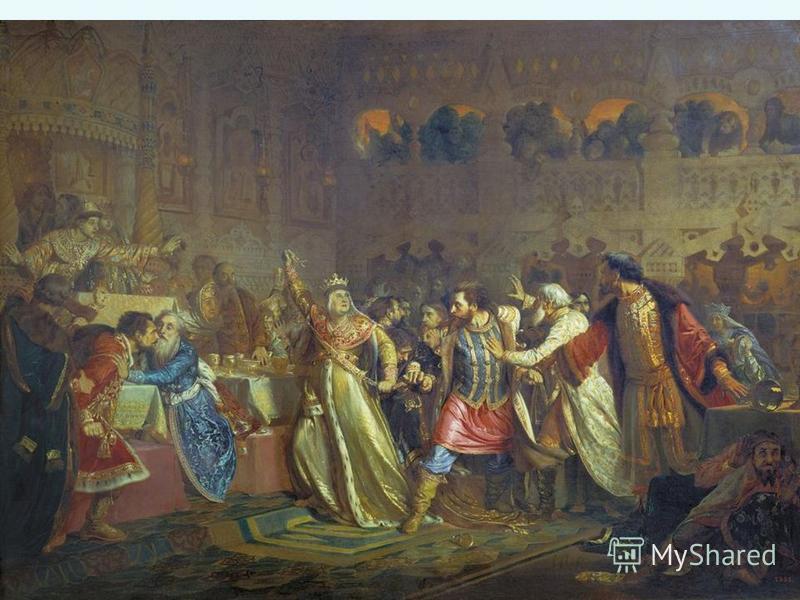 2. Борьба за власть Орда выдала ярлык Василию, но не согласный с этим Юрий стал в Галиче собирать все силы недовольные Василием. В 1433 г. началось открытое противостояние – московские войска были разбиты, Василий бежал в Кострому, но был взят в плен