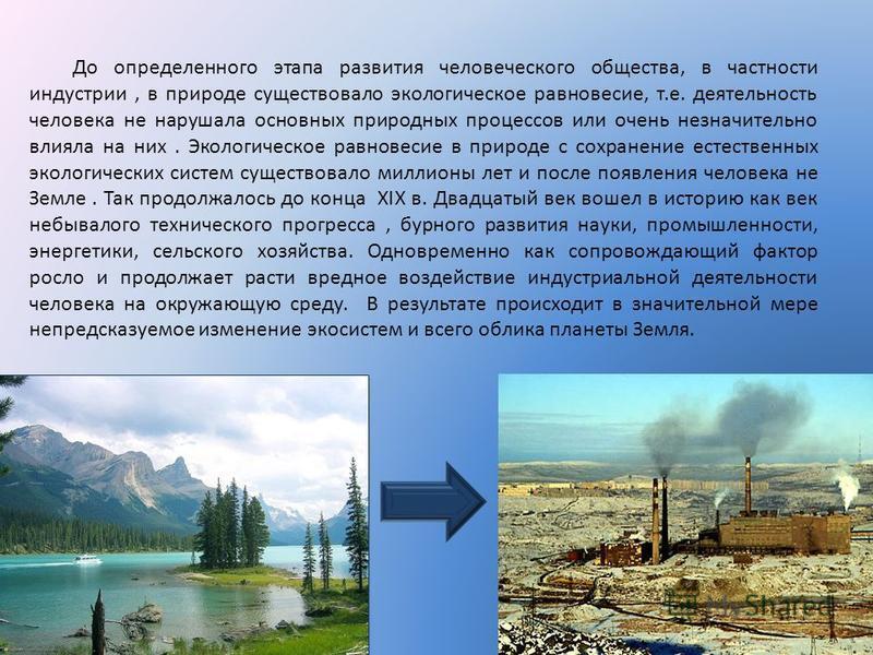 До определенного этапа развития человеческого общества, в частности индустрии, в природе существовало экологическое равновесие, т.е. деятельность человека не нарушала основных природных процессов или очень незначительно влияла на них. Экологическое р