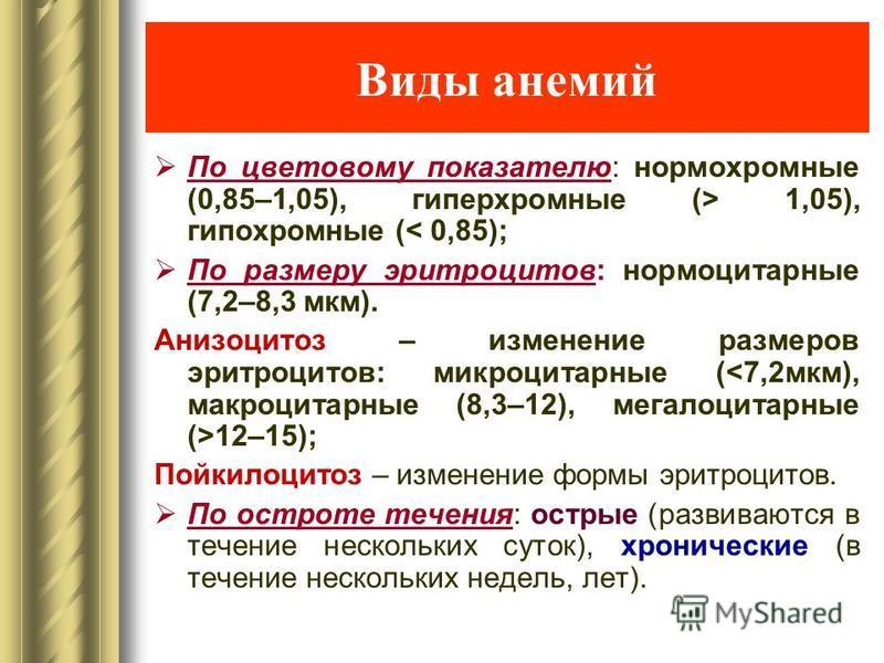 Виды анемий По цветовому показателю: нормохромные (0,85–1,05), гиперхромные (> 1,05), гипохромные (< 0,85); По размеру эритроцитов: нормоцитарные (7,2–8,3 мкм). Анизоцитоз – изменение размеров эритроцитов: микроцитарные ( 12–15); Пойкилоцитоз – измен