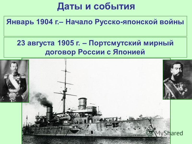 Даты и события Январь 1904 г.– Начало Русско-японской войны 23 августа 1905 г. – Портсмутский мирный договор России с Японией