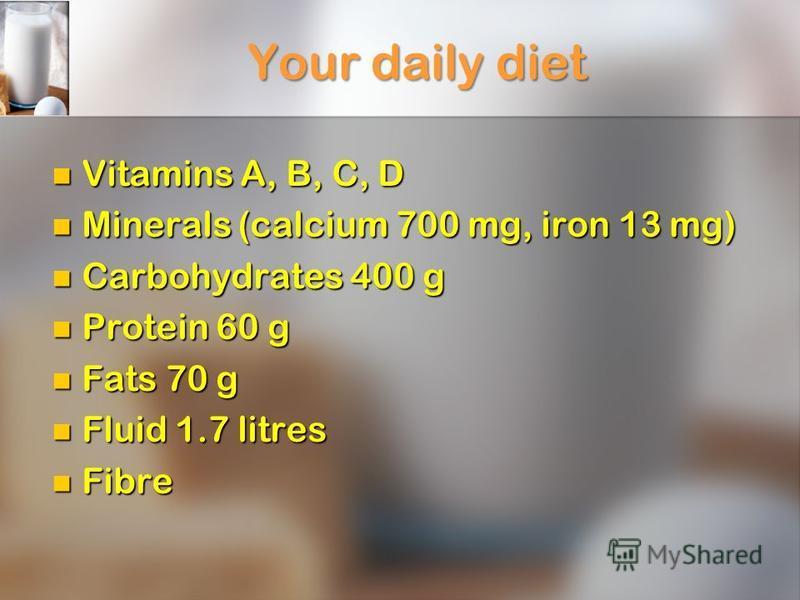 Your daily diet Vitamins A, B, C, D Vitamins A, B, C, D Minerals (calcium 700 mg, iron 13 mg) Minerals (calcium 700 mg, iron 13 mg) Carbohydrates 400 g Carbohydrates 400 g Protein 60 g Protein 60 g Fats 70 g Fats 70 g Fluid 1.7 litres Fluid 1.7 litre