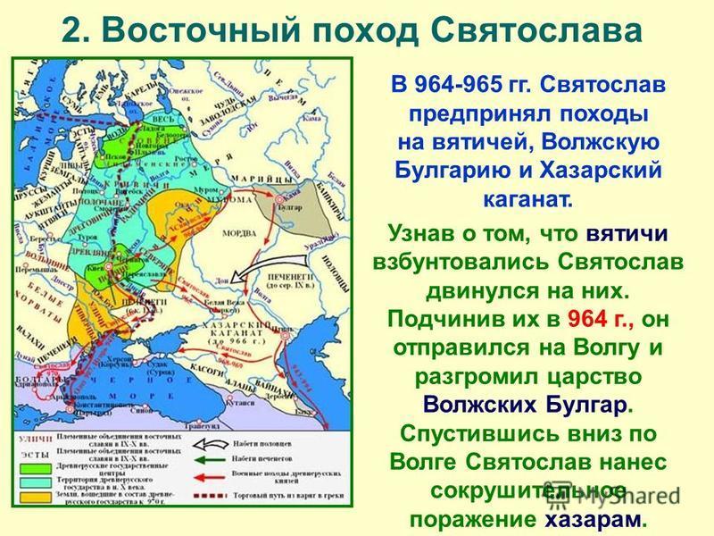 2. Восточный поход Святослава В 964-965 гг. Святослав предпринял походы на вятичей, Волжскую Булгарию и Хазарский каганат. Узнав о том, что вятичи взбунтовались Святослав двинулся на них. Подчинив их в 964 г., он отправился на Волгу и разгромил царст