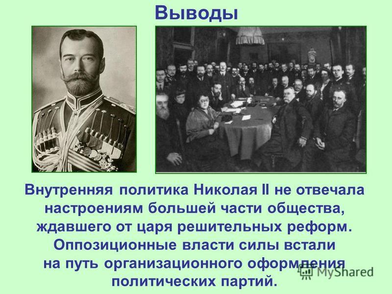 Выводы Внутренняя политика Николая II не отвечала настроениям большей части общества, ждавшего от царя решительных реформ. Оппозиционные власти силы встали на путь организационного оформления политических партий.
