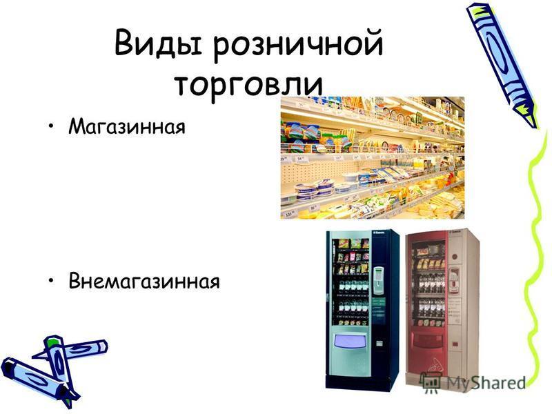 Виды розничной торговли Магазинная Внемагазинная